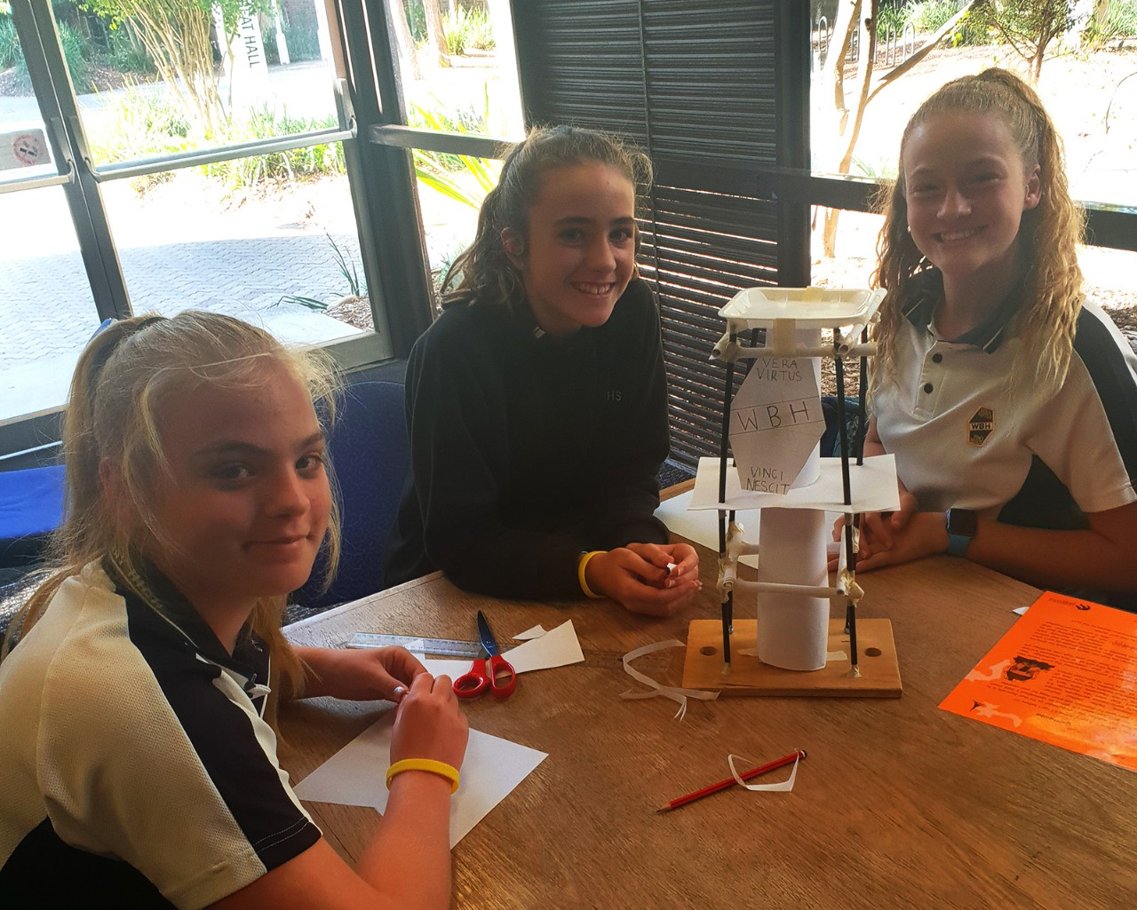 Students with their earthquake proof tower