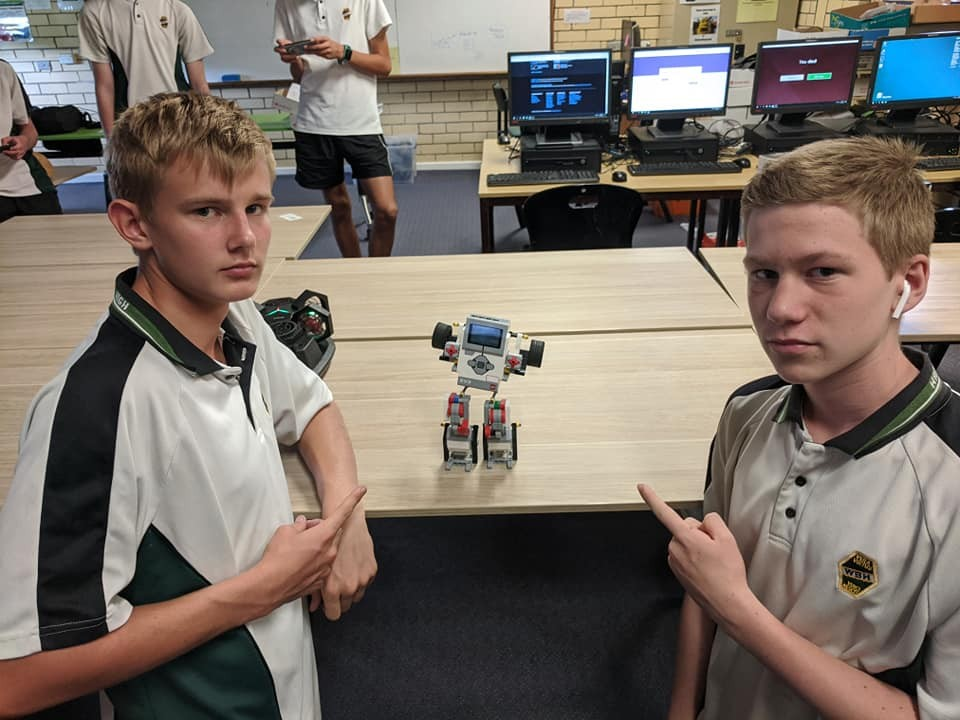 boys with robot