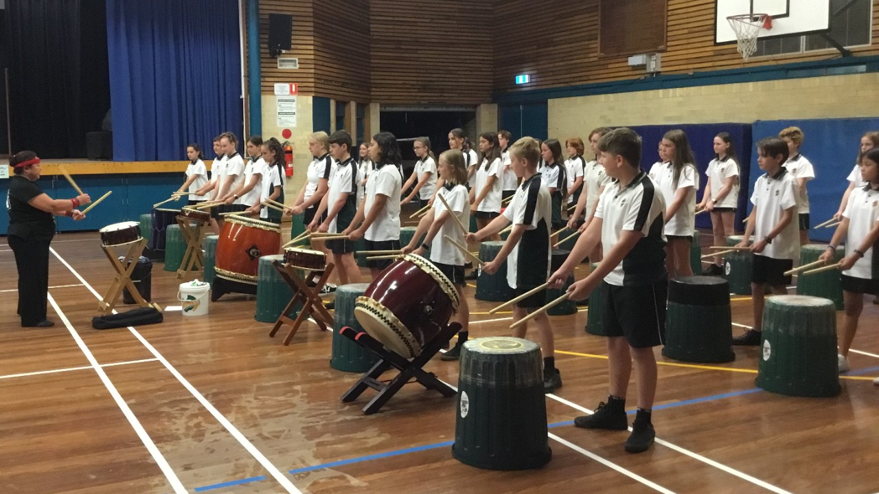 Students drumming